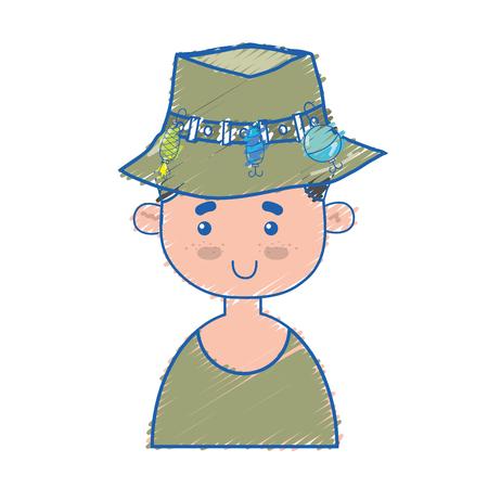 fisherman with hat design and funny sport vector illustration Illustration