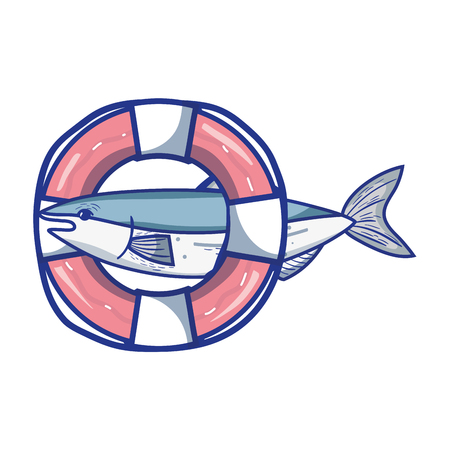 A fish with life buoy object design vector illustration