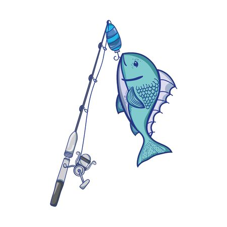 A spincast reel catch the fish food vector illustration
