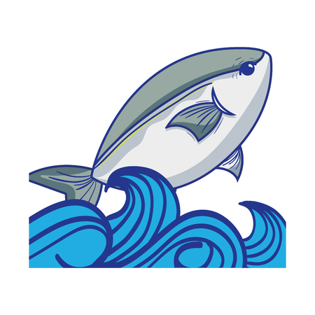 fish animal in the sea with waves design