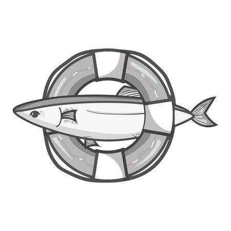 grayscale fish with life buoy object design Illustration