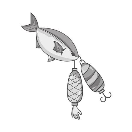 grayscale fish bitting spinner object to catch it Illustration