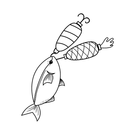 line fish bitting spinner object to catch it Illustration