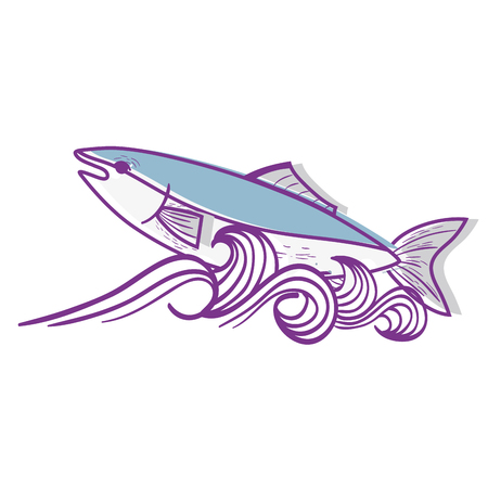 cooked meat: fish animal in the sea with waves design vector illustration Illustration