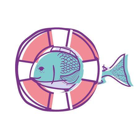 fish with life buoy object design vector illustration Illustration