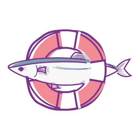 fish with life buoy object design Illustration