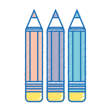 authors: pencils colors school tool object design vector illustration