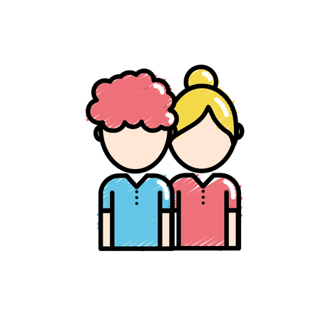 couple together with hairstyle and clothes