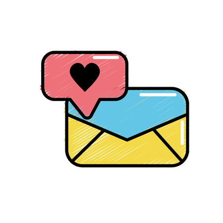 e-mail message and chat bubble with heart