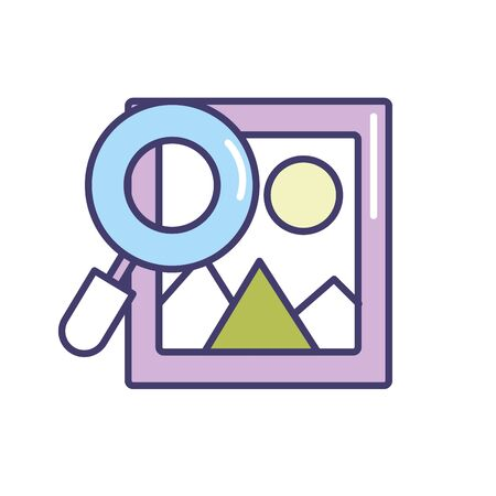 decorating: frame picture with magnifying glass icon Illustration