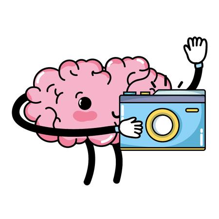 happy brain with digital camera