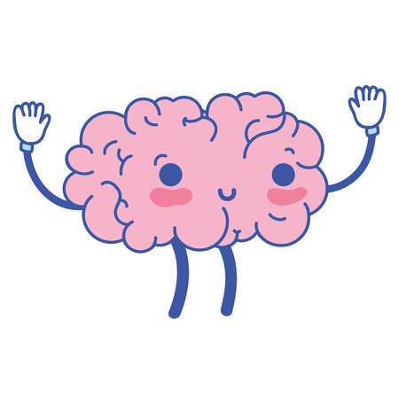 cute happy brain with arms and legs