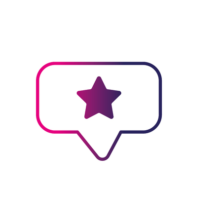 line chat bubble with star design inside