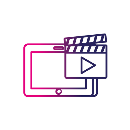 multimedia icons: line tablet technology with clapperboard video icon
