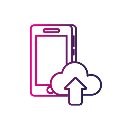 cellphone icon: line smartphone technology with cloud data icon