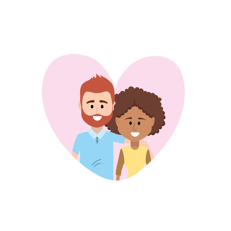 couple together inside heart design