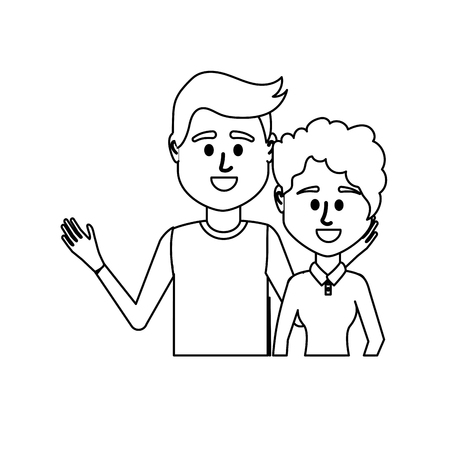 line couple together with casual clothes Illustration