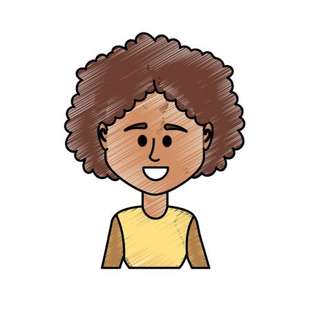 avatar woman with hairstyle and blouse design Illustration