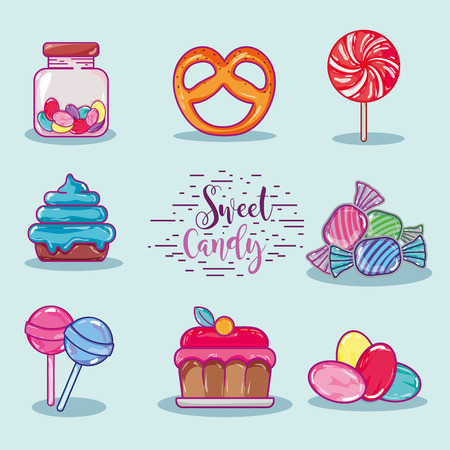 set sweet confetionery with delicious texture Illustration