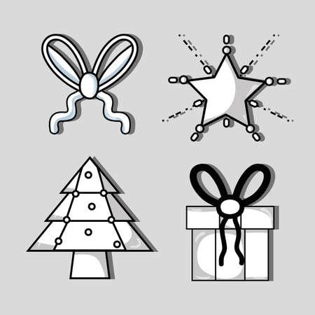chrstmas: set merry chrstmas decoration design vector illustration Illustration