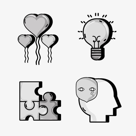 set psychology problem and therapy treatment vector illustration Illustration