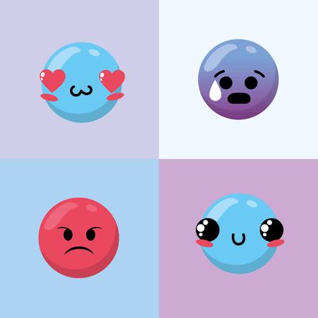 set emoji emotion design icon Illustration