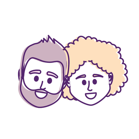 couple head together with hairstyle design vector illustration