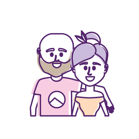 couple together with casual clothes Illustration