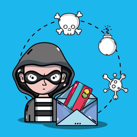 person hacker to programmer virus in the system Illustration