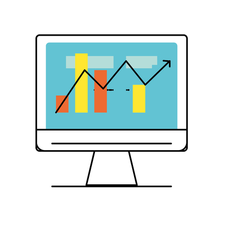 computer technology with statistics bar diagram vector illustration