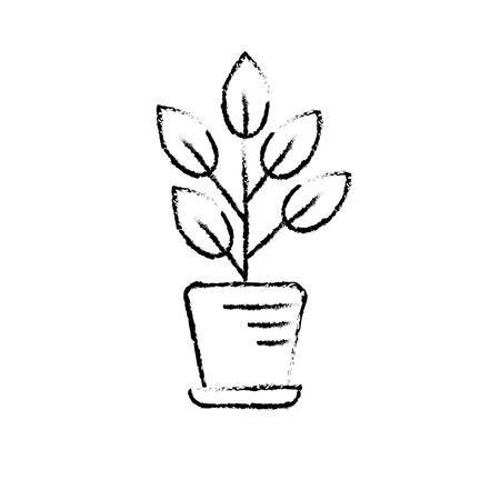 flowerpots: figure natural plant with leaves inside flowerpot Illustration