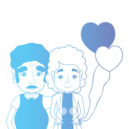 line couple togeter with hairstyle and hearts balloons Illustration