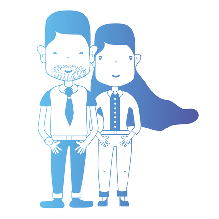 Line couple together with hairstyle and clothes. Illustration
