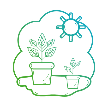 flowerpots: line plant with leaves inside flowerpot and sun Illustration
