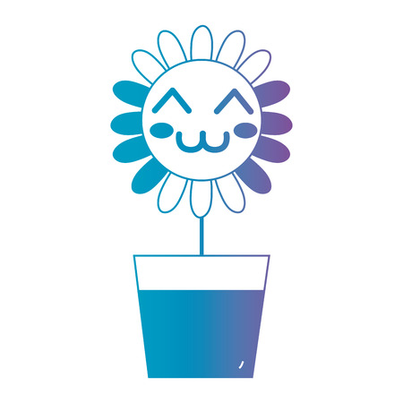 flowerpots: kawaii happy flower vector illustration