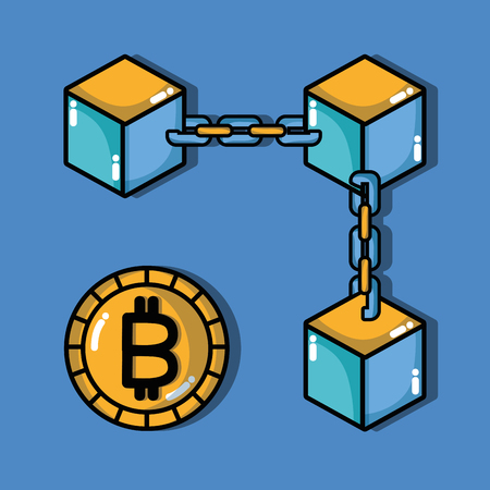 bitcoin 電子マネーのセキュリティ技術ベクトル図