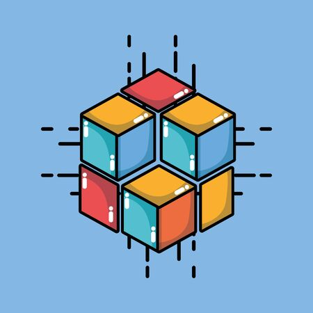 blockchain cubes digital security technology vector illustration