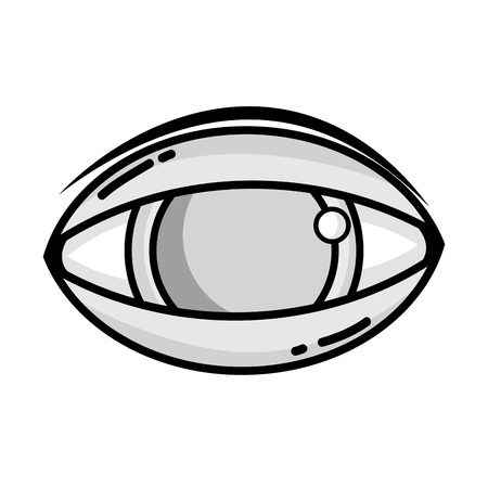 grayscale human eye to optical vision icon vector illustration