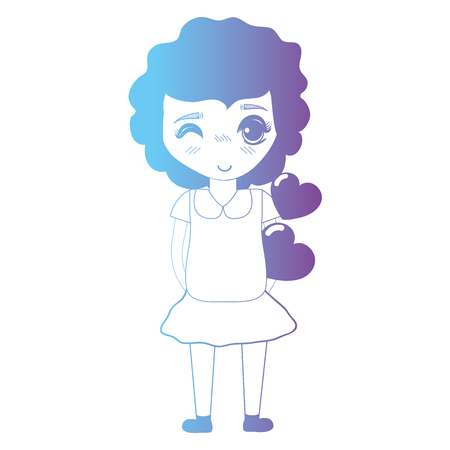line avatar girl with hairstyle and dress vector illustration