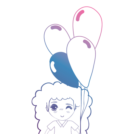 line girl with hairstyle and balloons in the hand vector illustration Illustration