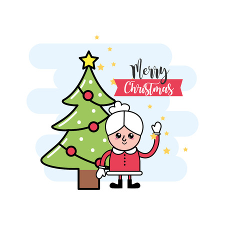Merry christmas decoration to event celebration vector illustration