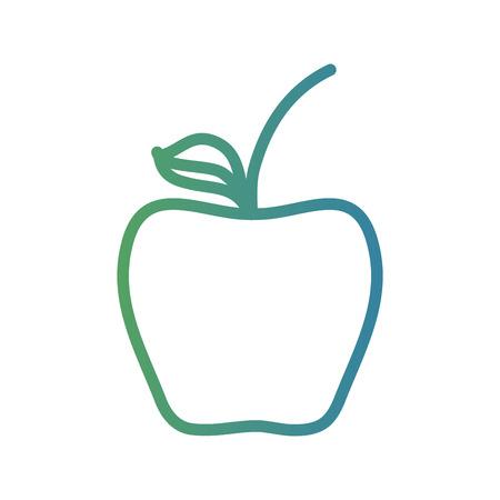 line delicious apple fruit nutrition vector illustration