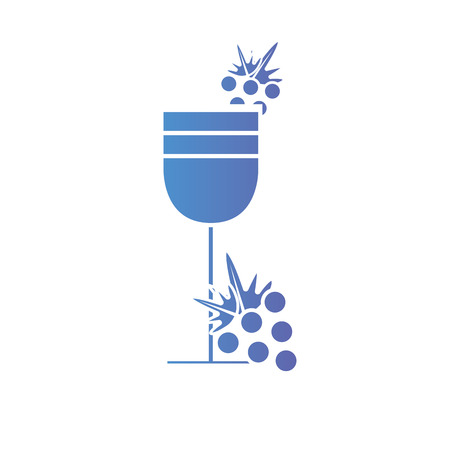 line wine glass with grapes fruits Illustration