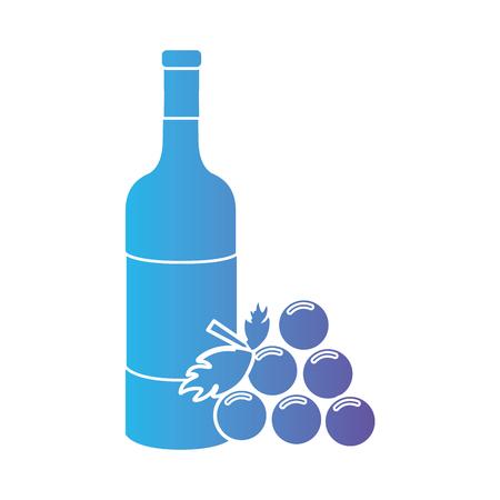 line wine bottle with grape fruit Illustration