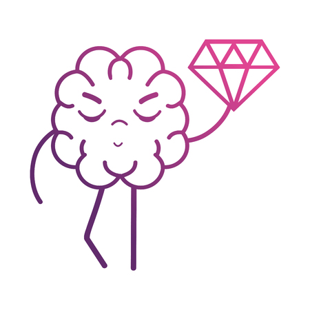 line brain with diamond icon vector illustration Illustration