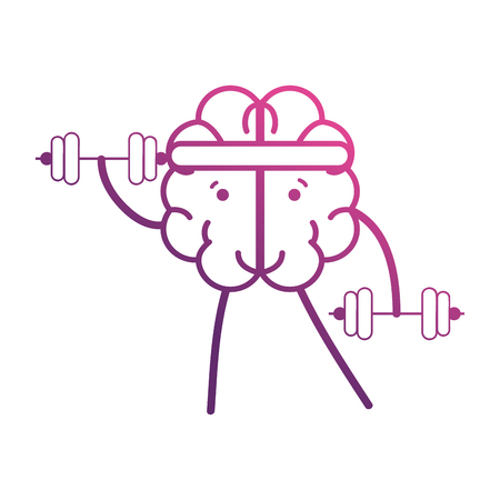 line brain with dumbbells object vector illustration