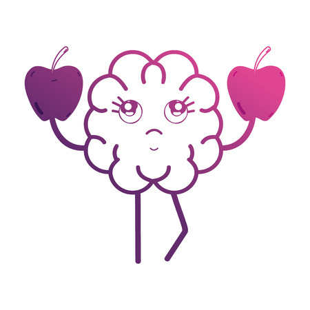 line brain with apples fruit vector illustration