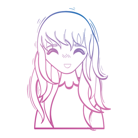 line beauty anime girl with hairstyle and blouse vector illustration Illustration