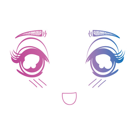 line anime girl face expression vector illustration