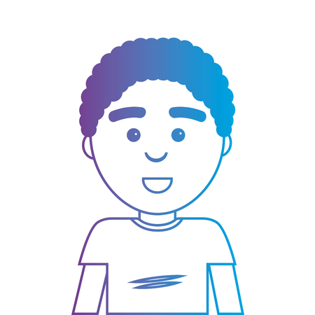 line man with hairstyle and t-shirt design vector illustration Illustration